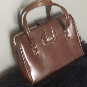 VTG Vintage Large Doctors Satchel Handbag Brown